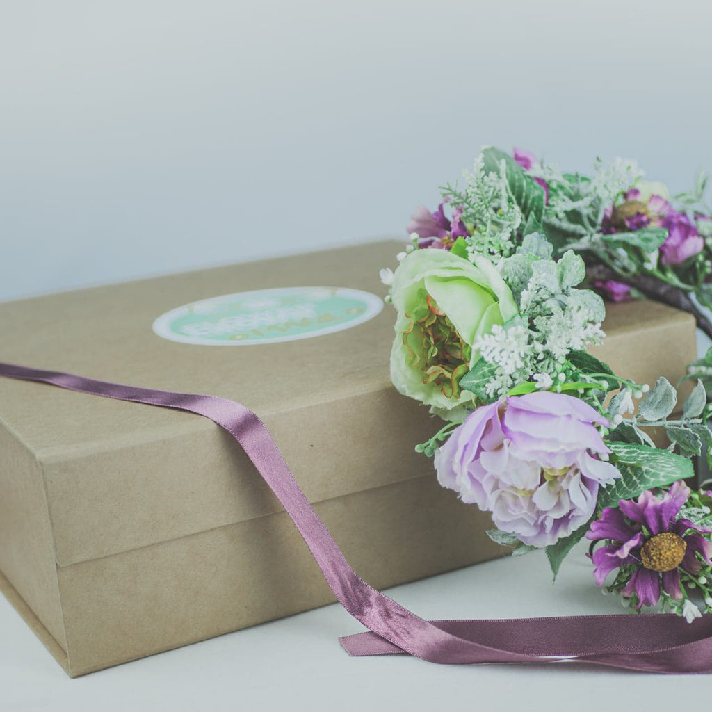 our made to order flower combs and flower crowns arrive in a beautiful keepsake presentation box