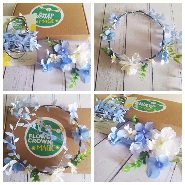 diy blue and white flower crown kit