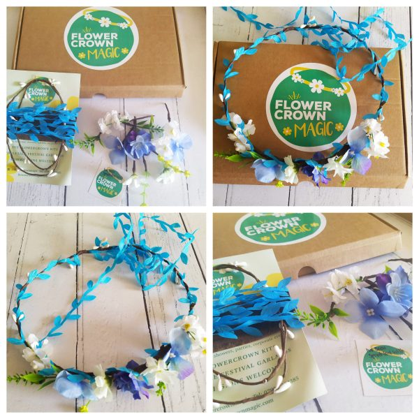 electric blue and white diy flower crown kit