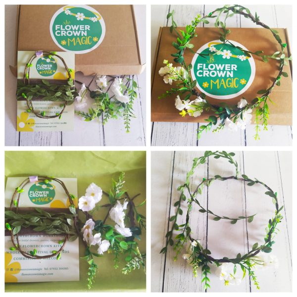 forest green kids diy flower crown kit