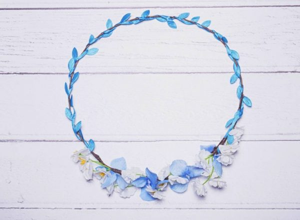 pale blue and white flower crown
